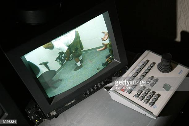 A closed circuit television shows an interrogation room in Camp Delta for detainees from the US war in Afghanistan April 7 2004 in Guantanamo Bay...