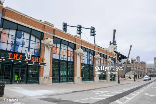 A closed Comerica Park where the Detroit Tigers were scheduled to open the season on March 30th against the Kansas City Royals on March 30 2020 in...
