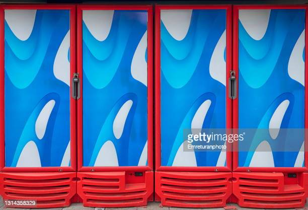 closed commercial refrigerators in a row. - emreturanphoto stock pictures, royalty-free photos & images