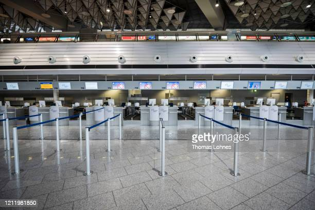 Closed counter pictured at Frankfurt Airport on March 12 2020 in Frankfurt Germany US President Donald Trump has announced he is imposing a ban on...