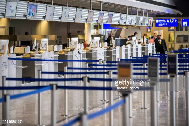 Closed counters pictured at Frankfurt Airport on March 12, 2020 in Frankfurt, Germany. U.S. President Donald Trump has announced he is imposing a ban...