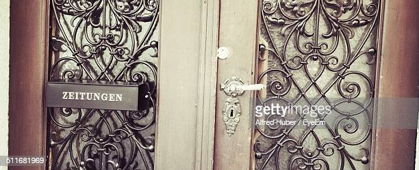 Closed door of a house