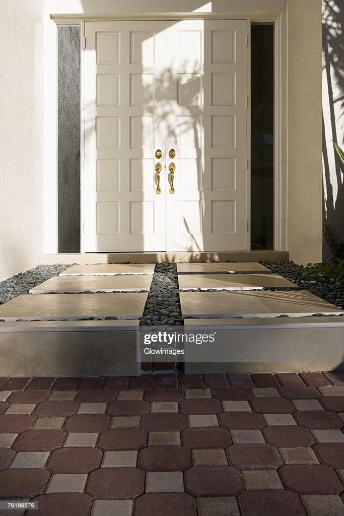 Closed door of a house : Stock Photo