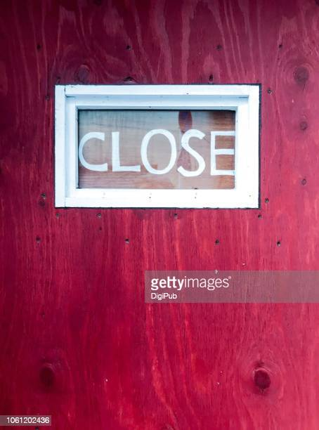 closed door with closed sign - closing stock photos and pictures