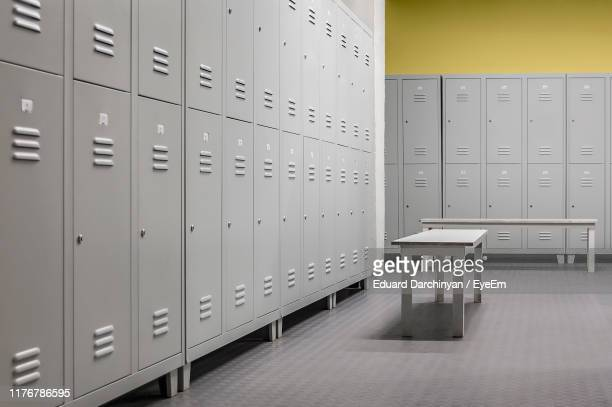 closed doors of lockers in room - dressing room stock pictures, royalty-free photos & images