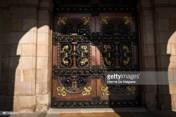Closed doors of the Parliament of Catalonia as it has been dissolved by the Spanish government under article 155 on October 28 2017 in Barcelona Spain