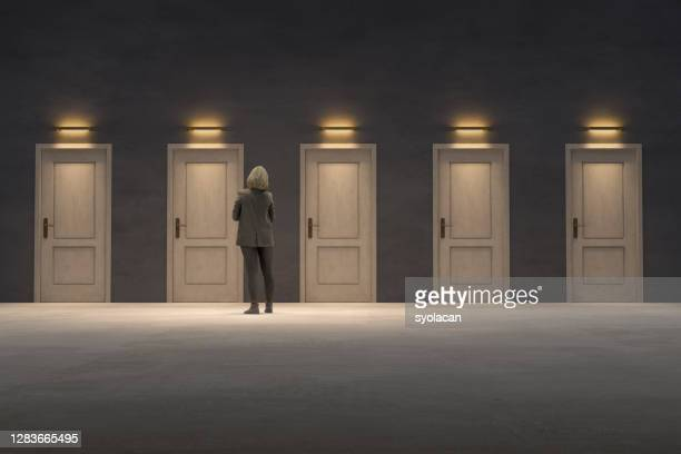 closed doors, too many options - syolacan stock pictures, royalty-free photos & images