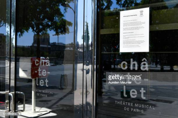 Closed doors with a message explaining how to get refunded at Hotel du Chatelet during the Coronavirus pandemic on May 06 2020 in Paris France The...