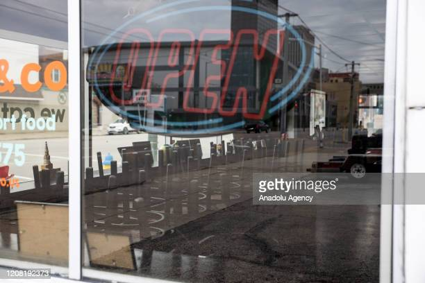 Closed down restaurant is seen in Dayton, Ohio on March 24, 2020 amidst the Coronavirus Pandemic. On March 23, 2020 the state declared a stay at home...