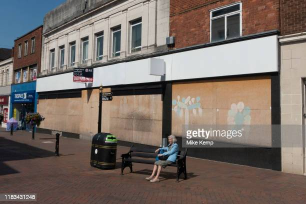 Closed down shops on the high street shopping street in Stafford United Kingdom