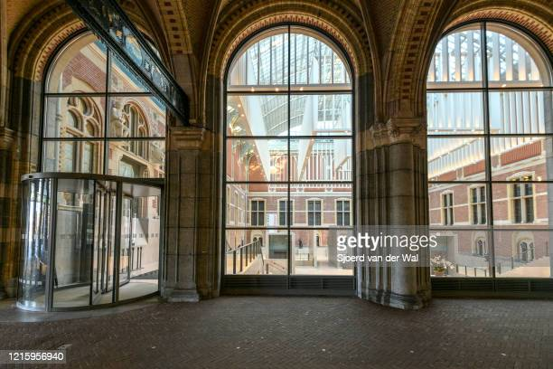 Closed entrance of the Rijksmuseum in the tunnel under the Rijksmuseum in Amsterdam during a weekday morning following the advice of the Dutch...