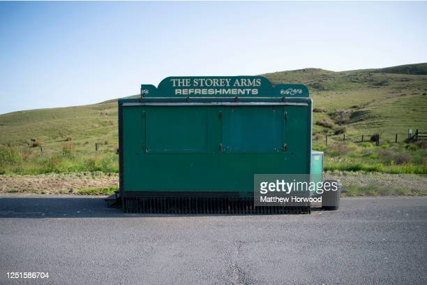 A closed food van at the Beacons on June 23 2020 in Brecon United Kingdom National parks and beauty spots remain closed in Wales as nonessential...