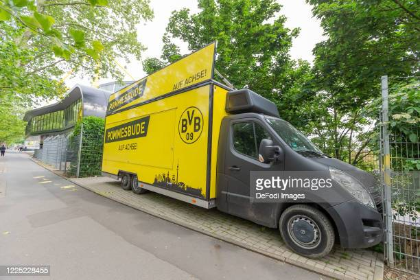 A closed French fries booth during the game is seen on May 16 2020 in Dortmund Germany The Bundesliga and Second Bundesliga is the first professional...