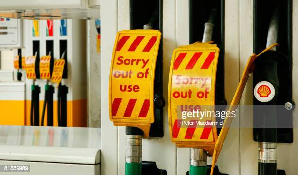 Closed fuel pumps signs are displayed at a Shell petrol station on June 14, 2008 in Bayswater, London. Fuel tanker drivers continue to strike over...