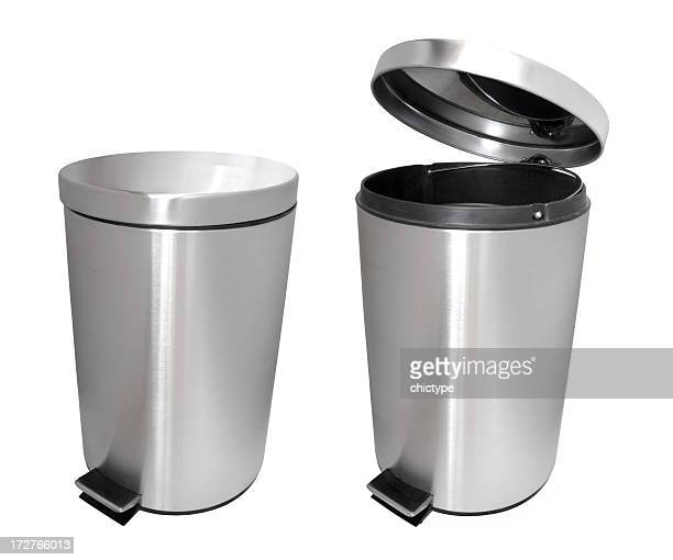 closed garbage bin and an open garbage bin - garbage can stock photos and pictures