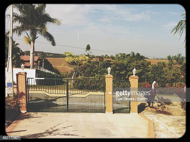 closed gate at end of driveway - flowering plant stock photos and pictures