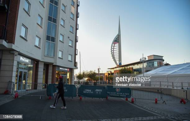Closed Gunwharf Quays on the first day of a new national lockdown on November 05, 2020 in Portsmouth, England. England enters second national...