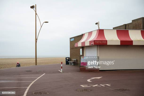 A closed ice cream kiosk with a For Sale sign outside it is pictured on the beachfront on February 7 2017 in Great Yarmouth United Kingdom The town...