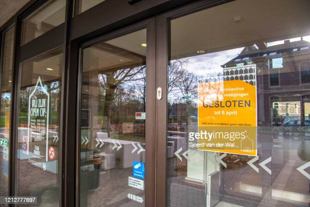 Closed library Stadskamer in Zwolle after the Dutch government announced new measures for prevention of spreading of the Corona Covid-19 virus on...