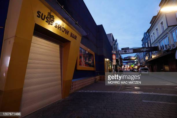 "Closed location for adult entertainment is pictured on the ""Grosse Freiheit"" street in the red light district of the northern German city of Hamburg..."