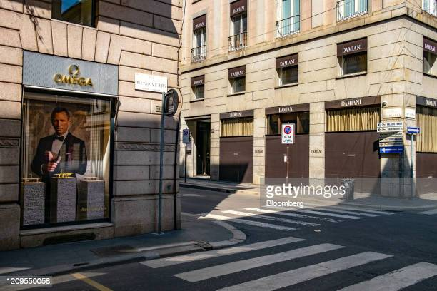 Closed luxury boutiques stand on Via Monte Napoleone the fashion district artery in Milan Italy on Wednesday April 8 2020 Italy is beginning to look...