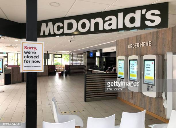 Closed McDonald's fast food outlet is seen at Taunton Deane service station on May 14, 2020 in Taunton, England. The prime minister announced the...