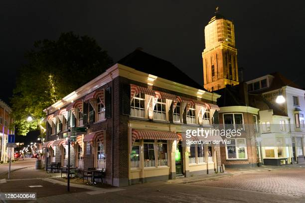 Closed Pampus restaurant in the city center of Zwolle during the weekly shopping evening after the Dutch government announced new measures including...