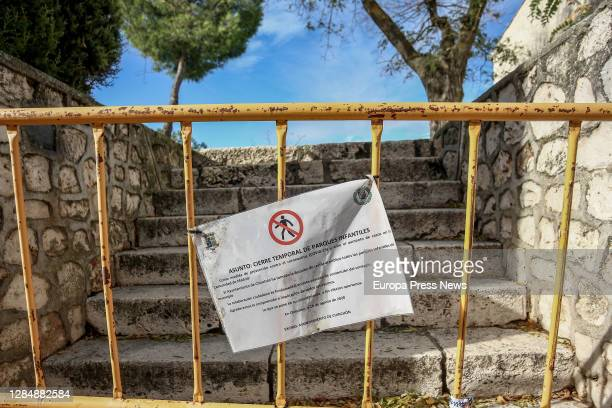 Closed park in Chinchón, one day before the municipality is confined to stop the spread of the coronavirus, on November 08 in Chinchón, Madrid,...