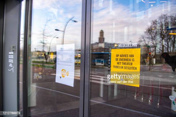 Closed Pathe cinema movie theatre after the Dutch government announced new measures for prevention of spreading of the Corona Covid-19 virus on March...