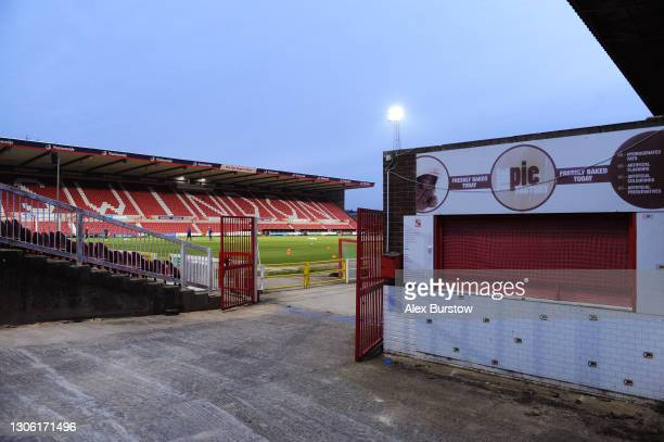 Closed pie kiosk is seen inside the stadium prior to the Sky Bet League One match between Swindon Town and Oxford United at County Ground on March...
