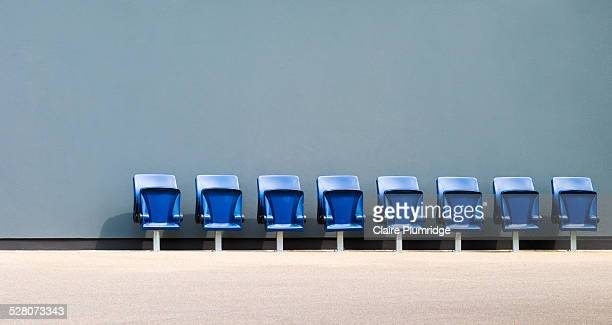 closed plastic flip down seats - claire plumridge stock pictures, royalty-free photos & images