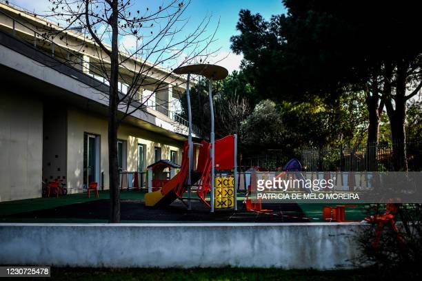 Closed playground of a nursery is is pictured at Parque Tejo in Lisbon on January 22, 2021. - Portugal has closed schools for two weeks in a bid to...