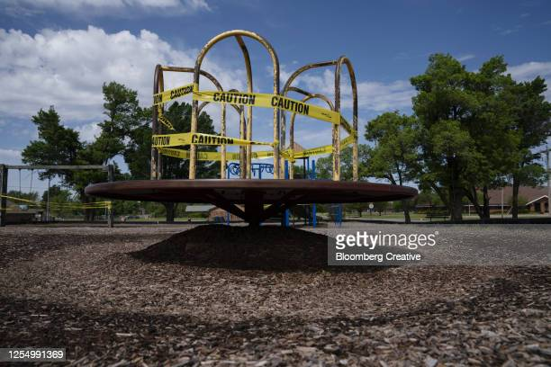 closed playground - cordon tape stock pictures, royalty-free photos & images