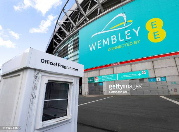 A closed programme stand outside Wembley stadium on what should have been FA Cup Final day on May 23 2020 in London England The British government...