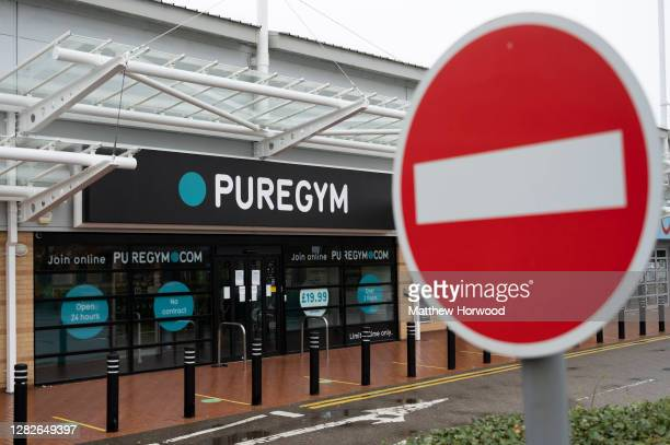 Closed Puregym on October 27, 2020 in Cardiff, Wales. Wales entered a national lockdown on Friday evening which will remain in place until November...