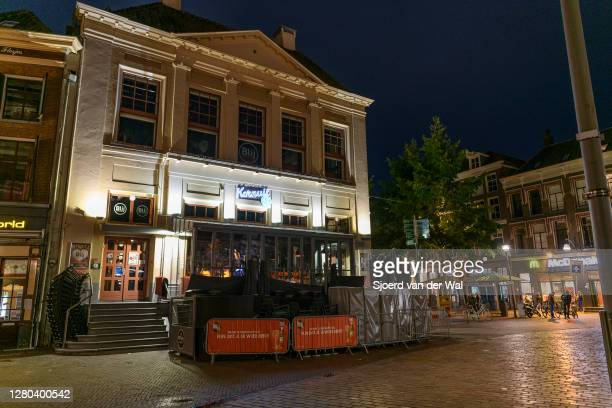 Closed restaurant BLIJ stadscafe in the city center of Zwolle during the weekly shopping evening after the Dutch government announced new measures...