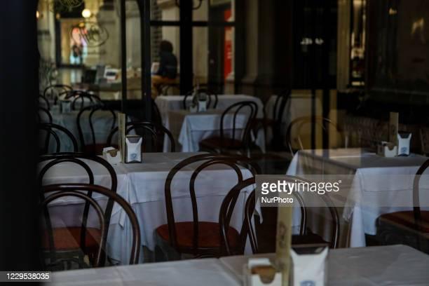 Closed restaurant in Galleria Vittorio Emanuele during Lockdown in Lombardy red zone on November 08, 2020 in Milan, Italy. Italian Prime Minister...