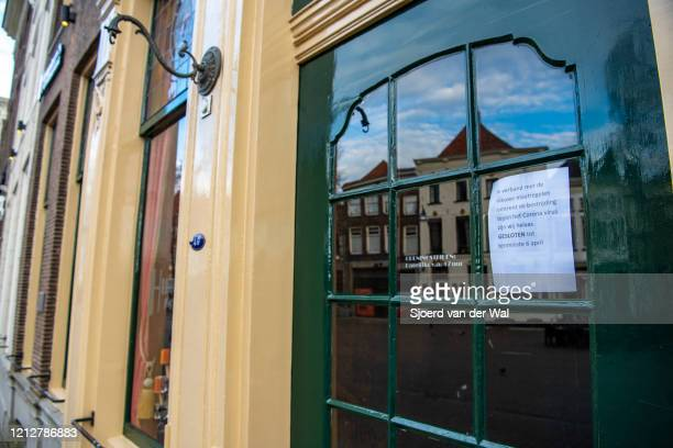 Closed restaurant in the city center of Zwolle after the Dutch government announced new measures for prevention of spreading of the Corona Covid-19...