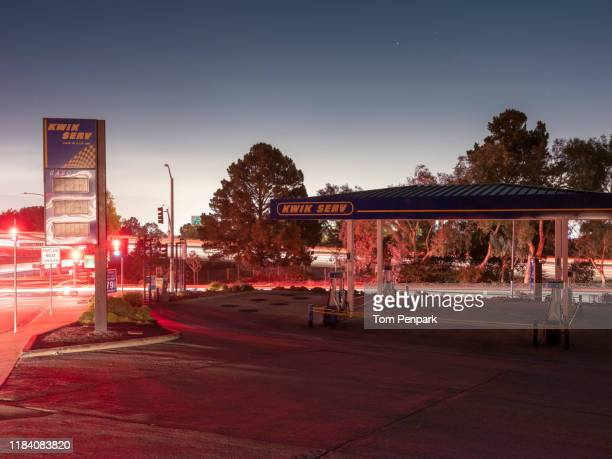 closed san bruno kwik serv gas station. pg&e power shutoff in san bruno, san mateo county, san francisco and bay area - san bruno stock pictures, royalty-free photos & images