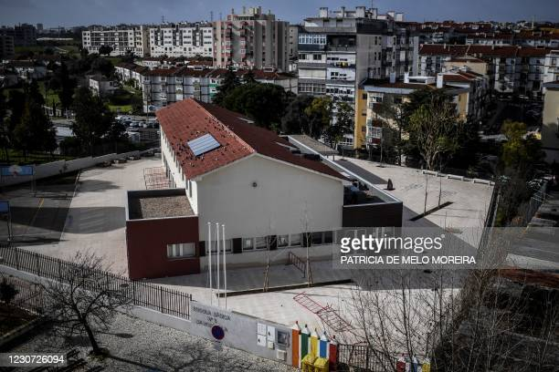 Closed school is pictured at Bobadela in Loures, in the outskirts of Lisbon on January 22, 2021. - Portugal has closed schools for two weeks in a bid...