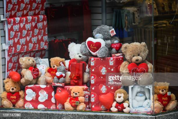Closed shop with Valentine's Day decorations in the window, seen on Grafton Street, Dublin city center, during Level 5 Covid-19 lockdown. On...