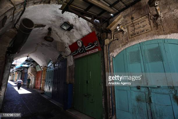 Closed shops are seen as shopkeepers go on a general strike to protest against Israeli attacks over Gaza and East Jerusalem on May 18, 2021 in...