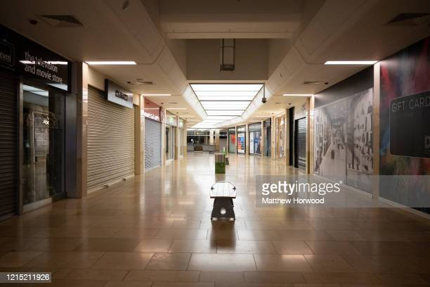 Closed shops in St David's shopping centre on March 20 2020 in Cardiff United Kingdom The Coronavirus pandemic has spread to many countries across...