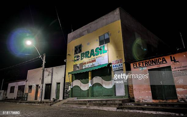 Closed shops, night time in Barreirinhas, Brazil