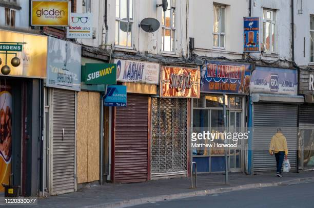 Closed shops on Cowbridge Road East during the coronavirus lockdown period on April 21, 2020 in Cardiff, United Kingdom.The British government has...