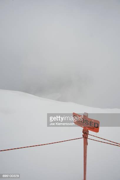 Closed sign and ropes near the top of Jackson Hole Ski Area.