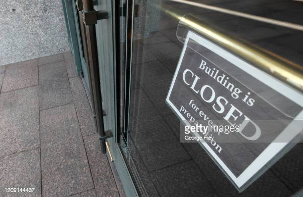 A closed sign hangs on one of the doors at the Conference Center which sits empty for the 190th Annual General Conference of the Church of Jesus...