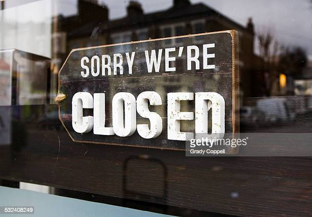 Closed sign in shop window