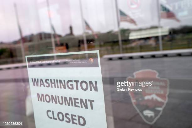 Closed sign is displayed at the Washington Monument on January 11, 2021 in Washington, DC. The National Parks Service stated that the Monument will...
