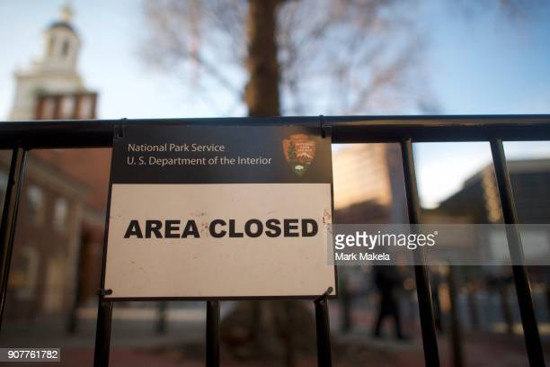 A closed sign is posted in front of the shuttered Independence Hall after the government shutdown on January 20 2018 in Philadelphia Pennsylvania As...